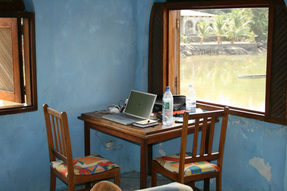 My writing place, on the beach, Sussex, Sierra Leone