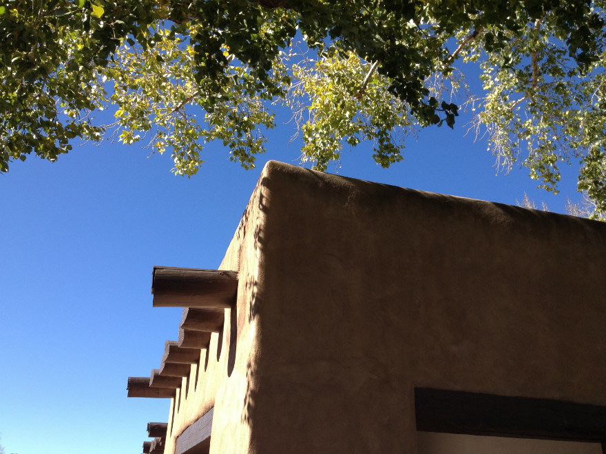 pueblo-revival architecture on blue