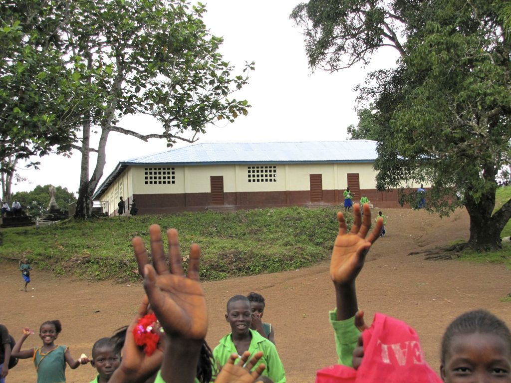 the rebuilt school, reducing class sizes from 90 to 45
